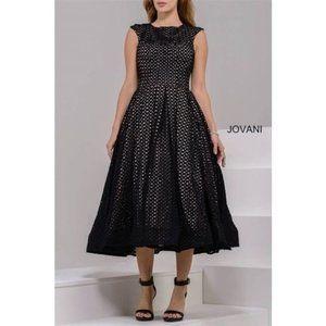Jovani Eyelet Fit & Flare Dress 37454 Black 2 NEW